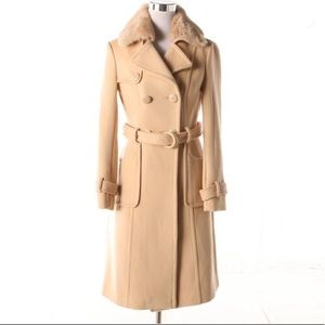 BEBE Double-Breasted Wool Blend Trench Coat